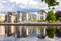 Halmstad river apartments Royalty Free Stock Photo