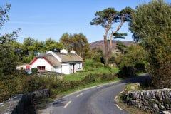 Halmtäckt stuga i Kerry, Irland Royaltyfri Bild