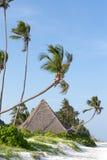 Halmtäckte bungalower på den vita sandiga stranden som omges av palmträdhavet Royaltyfria Bilder