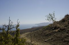 Halna ścieżka wśród krzaków przegapia Czarnego morze Obraz Stock