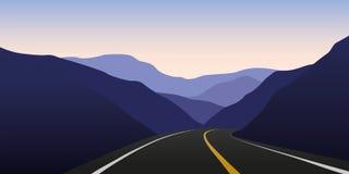 Halna autostrada w ciemnym krajobrazie ilustracji
