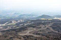 Halna droga na Etna wulkanie Góry Etna krajobraz sicily Zdjęcie Stock