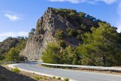 Halna drogowa serpentyna Troodos Cypr obraz stock