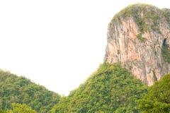 Halna falezy wysokość, las na białej tła Phatthalung prowinci południowy Tajlandia i zdjęcie stock