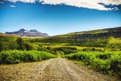 Halna Iceland droga i malowniczy naturalny krajobraz Zdjęcia Stock