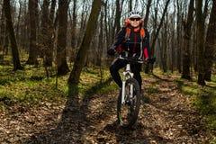 Halna rowerzysta jazda na rowerze w springforest krajobrazie Obraz Stock