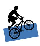 halna rowerzysta sylwetka Obrazy Royalty Free