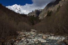 Halna rzeka i śnieżny szczyt w tle Obraz Royalty Free
