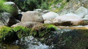 Halna rzeka, mała siklawa woda na granicie i mech kamień, zbiory