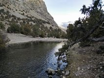 Halna rzeka płynie w Kazachstan górach Obrazy Stock