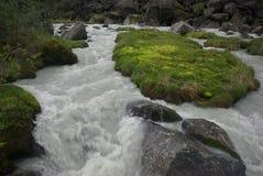 Halna rzeka w górach Prąd przez wąwozu rzeka Kamienie i skalista ziemia blisko rzeki Piękna góra Obrazy Stock