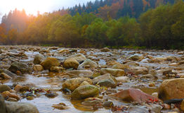 Halna rzeka w jesieni przy wschodem słońca Zdjęcie Royalty Free