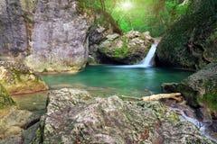 Halna rzeka. Wiosny rill przepływ. Zdjęcia Stock