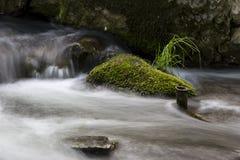 Halna rzeka z mechatymi kamieniami i miękką wodą długo ekspozycji Fotografia Stock