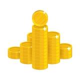 Halna złocistych monet kreskówki ikona Zdjęcie Stock