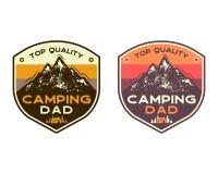 Halne Campingowe odznaki z wyceny Odgórnej ilości campingowym tatą podróży łaty projekt Ładny dla ojca dnia jako prezent, koszulk ilustracja wektor