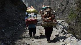 Mountain porters Stock Footage