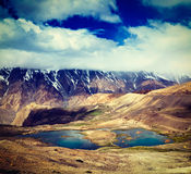 Halni jeziora w himalajach Zdjęcie Stock