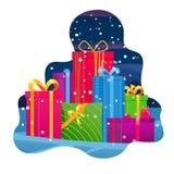 Halni prezenty Duży stos kolorowi zawijający prezentów pudełka Piękny teraźniejszości pudełko na zimy tle Prezenta symbol Bożenar royalty ilustracja
