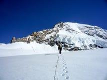 Halny arywista krzyżuje wysokiego wysokogórskiego lodowa na jego sposobie w Szwajcarskich Alps halny szczyt Fotografia Stock