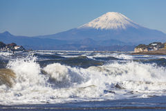 Halny Fuji i morze Fotografia Royalty Free