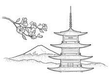 Halny Fuji w Japonia Rocznika rytownictwa czarna wektorowa ilustracja royalty ilustracja