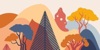 Halny górkowaty krajobraz z tropikalnymi roślinami i drzewami, palmy, sukulenty Azjata krajobraz w ciepłych pastelowych kolorach ilustracja wektor