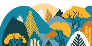 Halny górkowaty krajobraz z tropikalnymi roślinami i drzewami, palmy, sukulenty Azjata krajobraz w ciepłych pastelowych kolorach royalty ilustracja