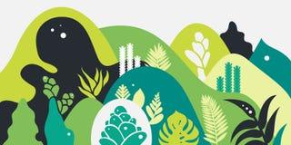 Halny górkowaty krajobraz z tropikalnymi roślinami i drzewami, palmy, sukulenty Azjata krajobraz w ciepłych pastelowych kolorach ilustracji