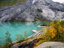 Halny Glacjalny jezioro, Norwegia Zdjęcia Stock