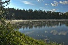 Halny jezioro wśród drzew Zdjęcia Royalty Free