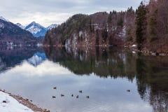 Halny jezioro w zimie Obrazy Stock