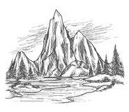 Halny jezioro z sosnami ilustracji