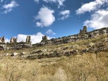 Halny krasowy krajobraz w Hiszpania Orbaneja Del Castillo Geol zdjęcia royalty free