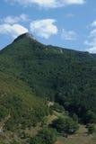 Halny las w pogodnym chmurnym dniu Zdjęcia Royalty Free