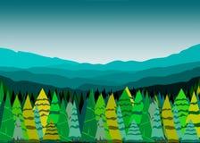Halny lasu krajobraz ilustracja wektor