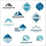 Halny logo, wektorowy loga projekt dla narciarskich sportów, turystyka, aktywny czas wolny Fotografia Stock