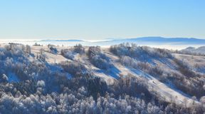 Halny mroźny lanscape, zimy scena Obraz Stock