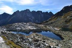 Halny natury niebieskiego nieba zieleni parka drewno chmurnieje jeziorny refleksowy ładnego zdjęcie royalty free