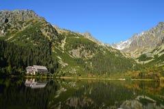 Halny natury niebieskiego nieba zieleni parka drewno chmurnieje jeziorny refleksowy ładnego Zdjęcia Stock
