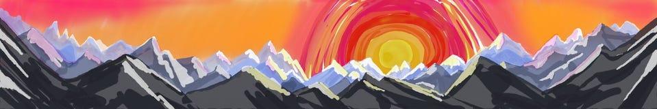 Halny panorama obraz, abstrakcjonistycznej sztuki sztandar lub chodnikowiec góra krajobraz, royalty ilustracja