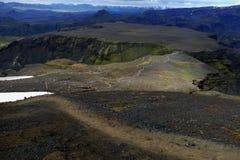 Halny plateau na Fimmvörduhals przełęczu, pochodzi w Godaland zdjęcie royalty free