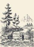 Halny rzeka przepływu krajobraz ilustracji