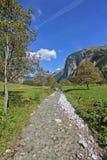 Halny strumień przy Wielkim Ahornboden w jesieni, Austria Obrazy Stock