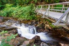 Halny strumienia spływanie pod drewnianym mostem Fotografia Royalty Free