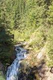 Halny strumienia spływanie wśród stromych skłonów Rhodope góry Obrazy Stock