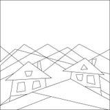Halny styl życia house góry Mieszkanie styl geomorfologiczny niebieski obraz nieba tęczową chmura wektora royalty ilustracja