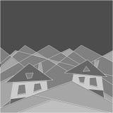 Halny styl życia house góry Mieszkanie styl geomorfologiczny niebieski obraz nieba tęczową chmura wektora ilustracja wektor