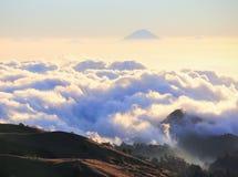 Halny szczyt nad morze chmury i mgła Zdjęcia Stock