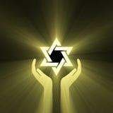 Halo da luz da mão da estrela de David ilustração stock